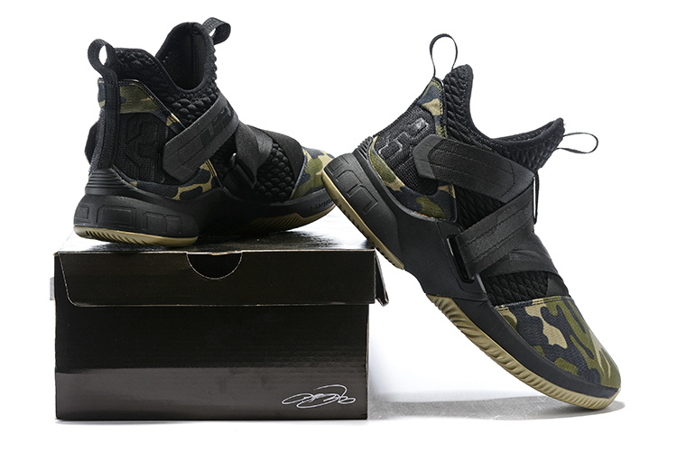 4ab88625922 Nike LeBron Soldier XII 12 SFG Camo Black Hazel Rush Black AO4054 001 Men s  Basketball Shoes