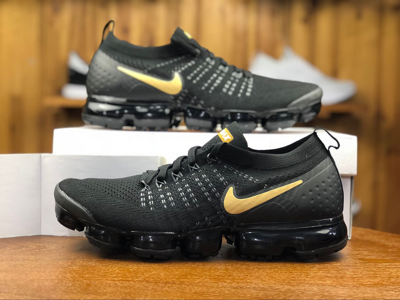 new style 69238 292cc Nike Air VaporMax Flyknit 2. 0 Black Gold 942842 009 Men's Running Shoes  942842--009