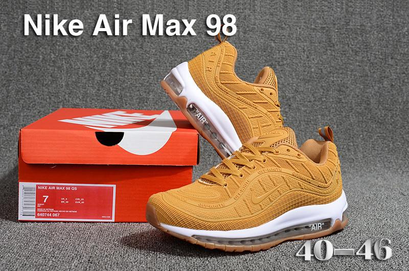 buy popular 2c332 f9df9 Nike Air Max 98 QS KPU Wheat Oxford Tan White 640744 067 Men's Running  Shoes 640744-067