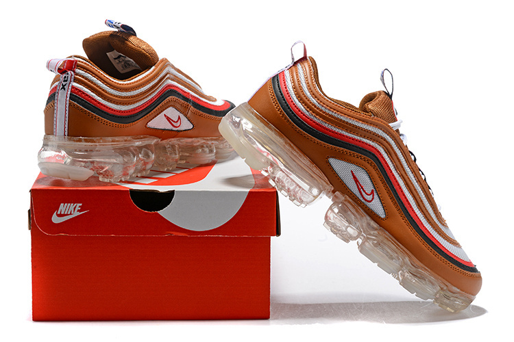 100% authentic 1489a 6ee45 Nike Air VaporMax 97 Silver Bullet Brown White Red Blue Women's Men's  Running Shoes NIKE-ST002365