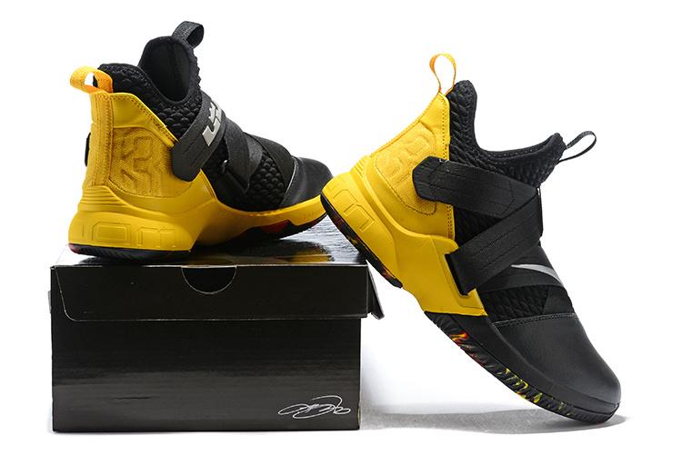 9ecd8bb7844 Nike LeBron Soldier 12 Black Yellow Men s Basketball Shoes NIKE ...