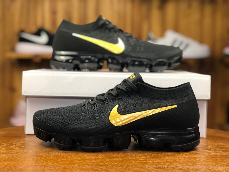 innovative design 71227 9dc87 Nike Air VaporMax Flyknit Black Gold AA3851 107 Men's Running Shoes  AA3851--107