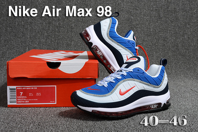 big sale 1fb2a 1e246 Nike Air Max 98 QS KPU Royal Blue Comet Red Black White 640744 064 Men's  Running Shoes NIKE-ST002250