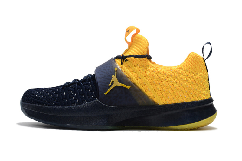 Air Jordan Trainer 2 Flyknit Michigan Navy Blue Yellow 921210 407 Men s  Basketball Shoes 8857dcf3d