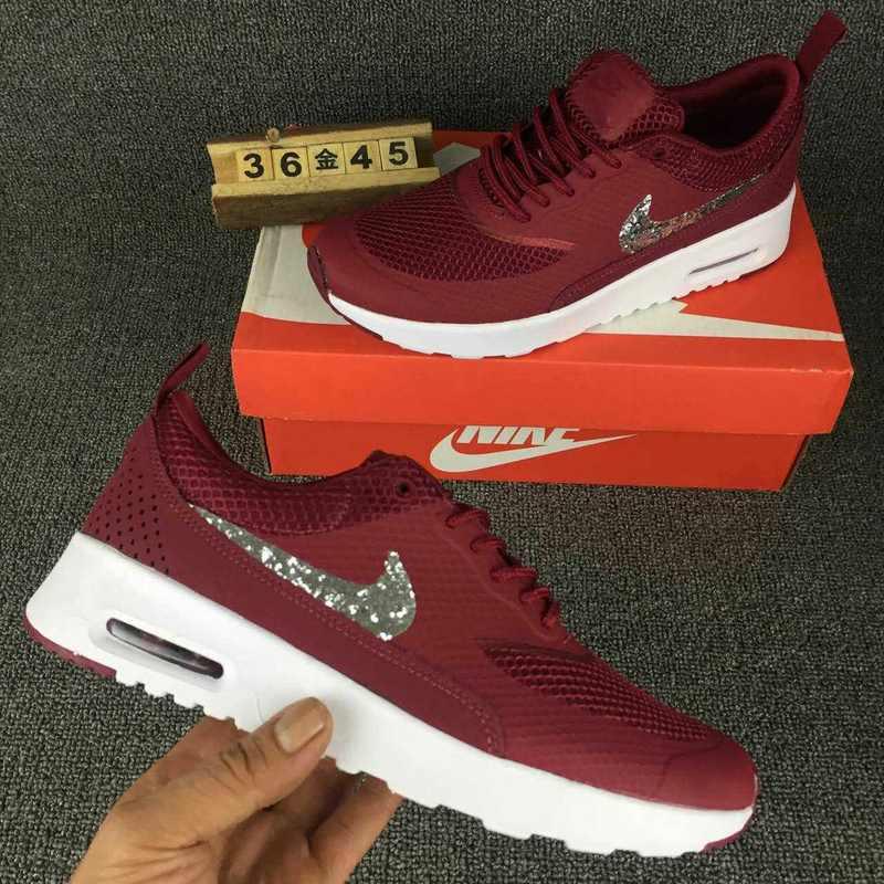 Nike Air Max Thea SE Burgundy Silver White Diamonds Women's Men's Running Shoes Sneakers NIKE ST002236
