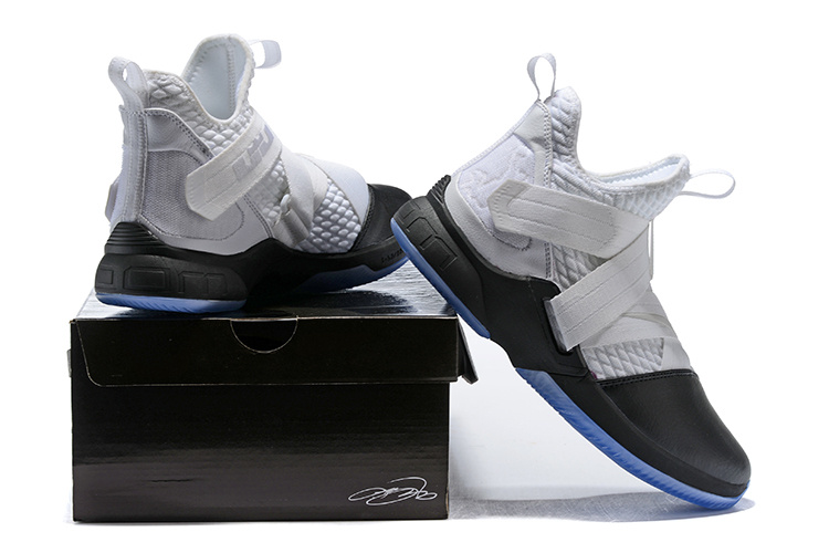 new style 7dffc fa553 Nike LeBron Soldier 12 Black White Men's Basketball Shoes NIKE-ST002482