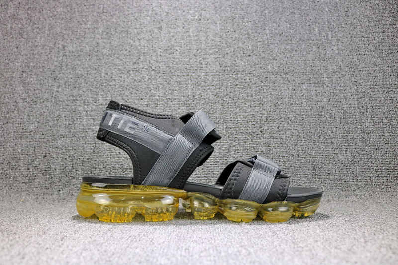 Off White X Nike Air Vapormax Grey Yellow 850588 002 Boys Men S Slides Sandals Flip Flops 850588 002