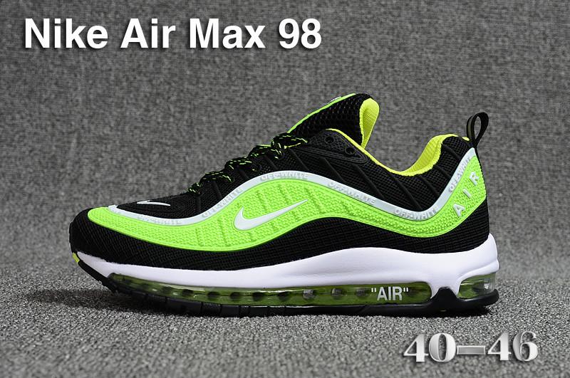 92e8223b595f65 Nike Air Max 98 QS KPU Black Green White 640744 066 Men s Running Shoes