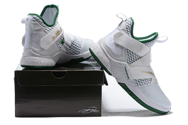 separation shoes 221e0 9d9f8 Nike LeBron Soldier 12 SVSM Home White Green AO2609 100 Men's Basketball  Shoes AO2609-100