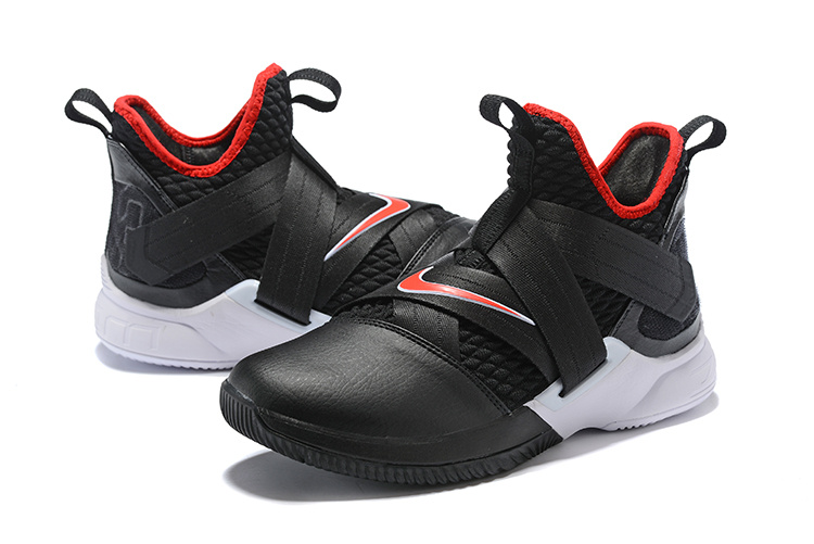 reputable site a9eb8 bcdd5 Nike LeBron Soldier 12 Bred Black White University Red AO2609 001 Men's  Basketball Shoes AO2609-001