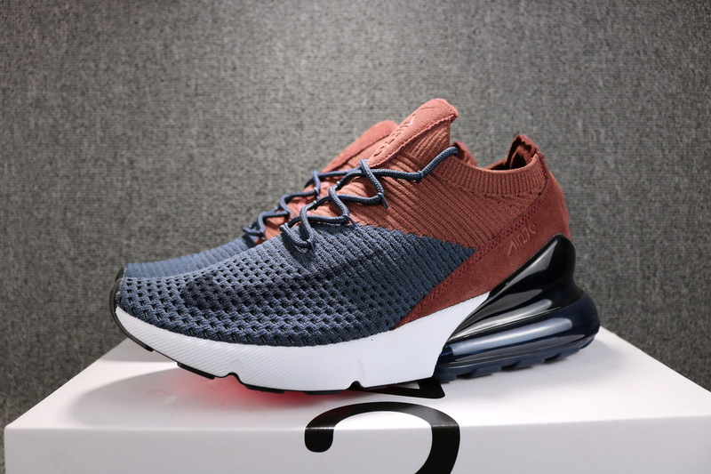 promo code 3b2fb 2c3dc Nike Air Max 270 Flyknit Navy Blue Brown AO1023 004 Women's Men's Running  Shoes AO1023--004