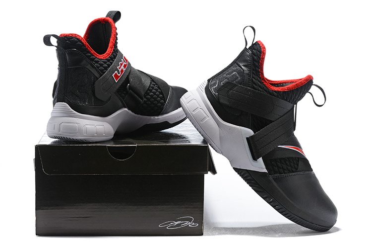 19113a1136f Nike LeBron Soldier 12 Bred Black White University Red AO2609 001 ...