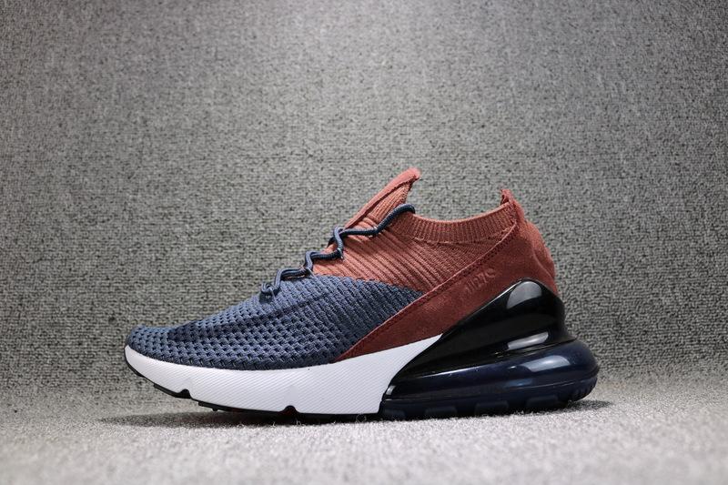 Nike Air Max 270 Flyknit Navy Blue Brown AO1023 004 Women s Men s Running  Shoes 040da2ce3