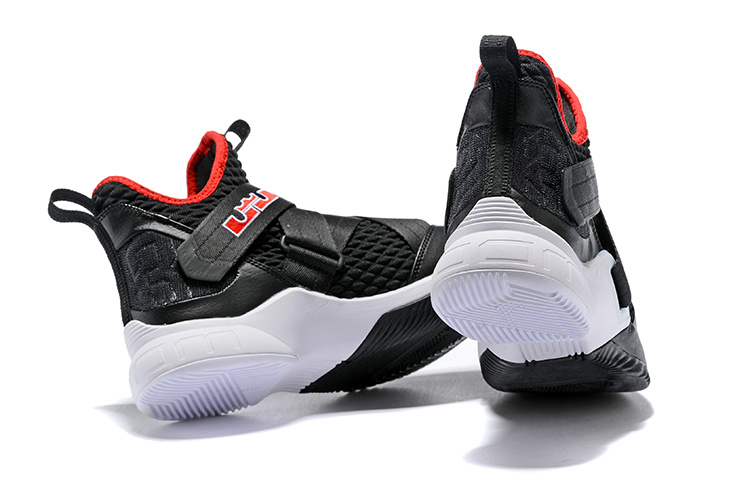 reputable site f1f35 a564d Nike LeBron Soldier 12 Bred Black White University Red AO2609 001 Men's  Basketball Shoes AO2609-001