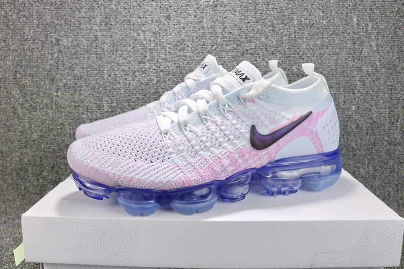 sale retailer 0358a 19389 Nike Air VaporMax Flyknit 2 White Hydrogen Blue Pink Beam Black 942843 102  Women's Running Shoes 942843--102