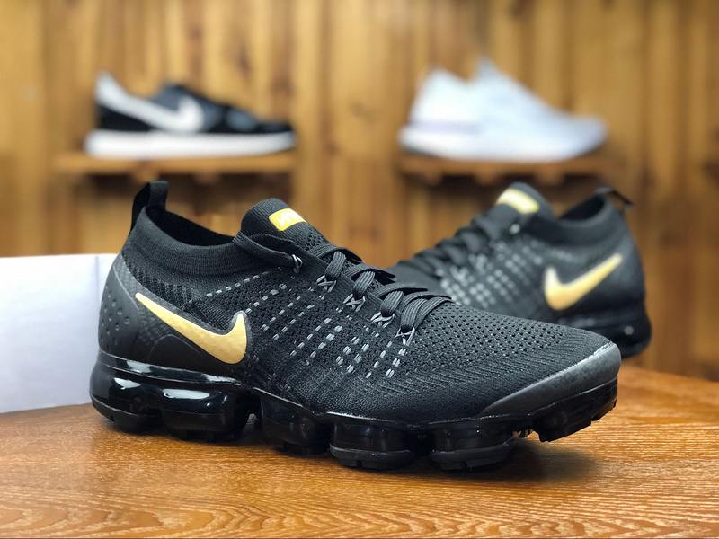 new style 8acb4 95077 Nike Air VaporMax Flyknit 2. 0 Black Gold 942842 009 Men's Running Shoes  942842--009