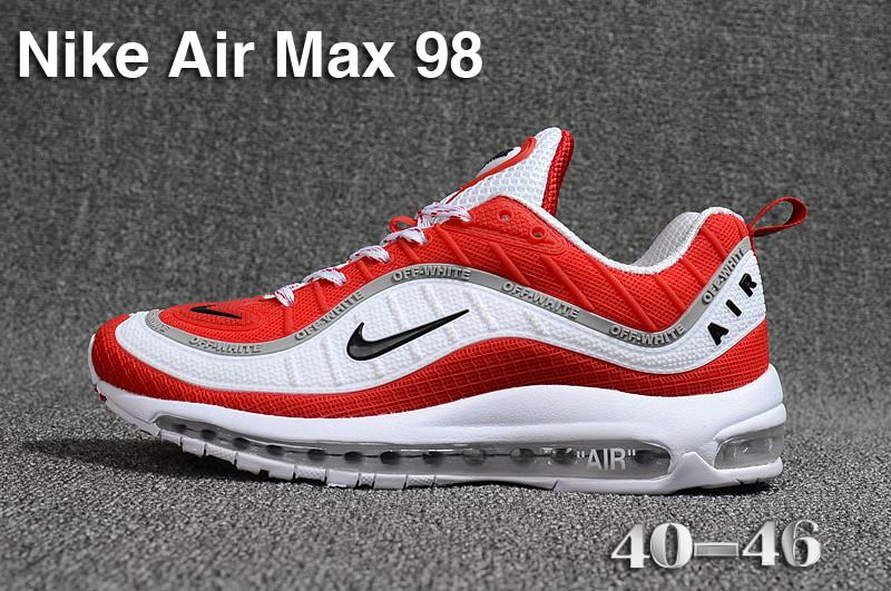 74221f89f9 Nike Air Max 98 QS KPU White Red Black Grey 640744 069 Men's Running Shoes