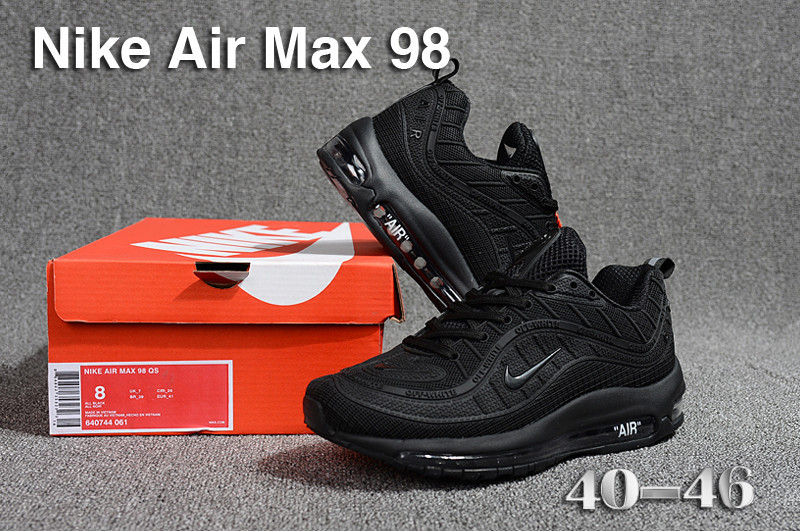 243e4154e7 Nike Air Max 98 QS KPU Triple Black 640744 061 Men's Running Shoes ...