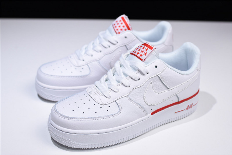 588b2aaa91aa6 Nike Air Force 1 Low White Red 596728-029 Women's Casual Shoes Sneakers