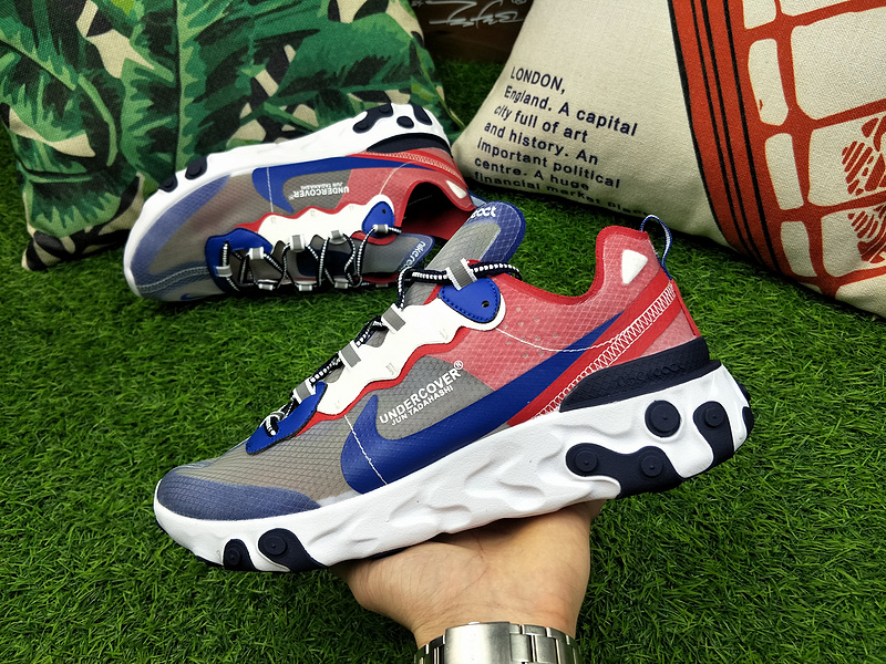77a39f10053 UNDERCOVER x Nike Upcoming React Element 87 Blue White Red AQ1813 333 Women s  Men s ...