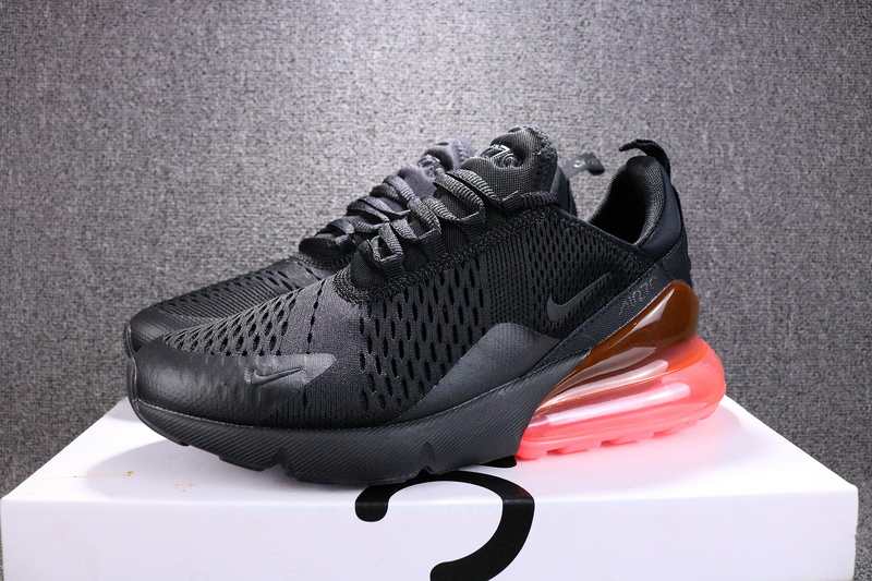 finest selection 5f7c6 418f8 Nike Air Max 270 Flyknit Black Hot Punch AH8050 010 Women's Men's Casual  Shoes AH8050-010