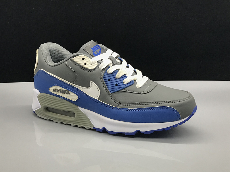 Nike Air Max 90 Leahter Charcoal Gray Royal Blue White Men's Casual Shoes Sneakers NIKE ST002758