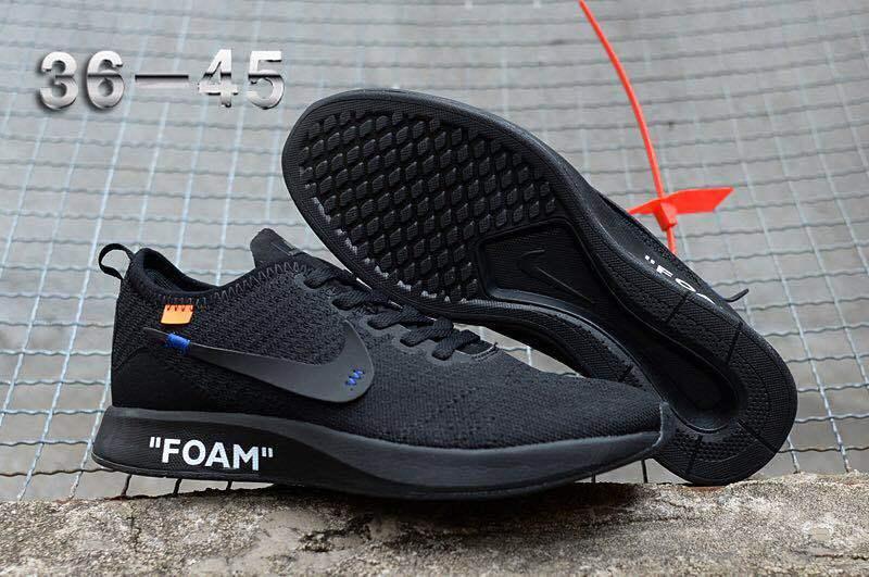 8dc466e14c9b Off White Nike Flyknit Racer Triple Black Women s Men s Running Shoes