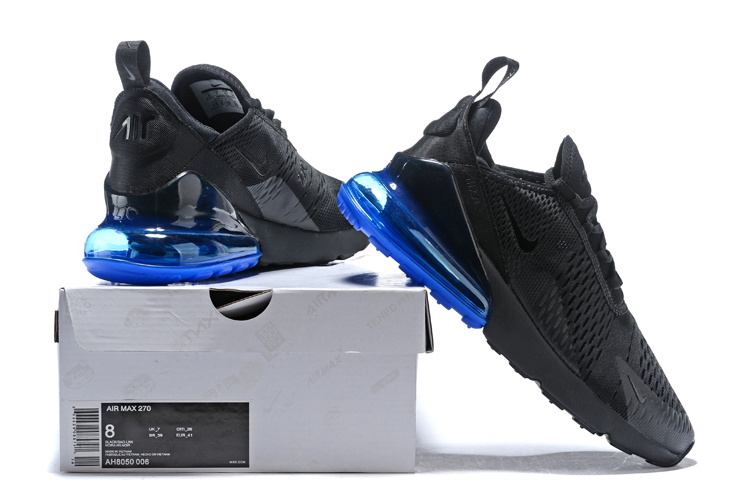33f0ad6c8e164 Nike Air Max 270 Flyknit Black Blue AH8050 005 Men s Running Shoes ...