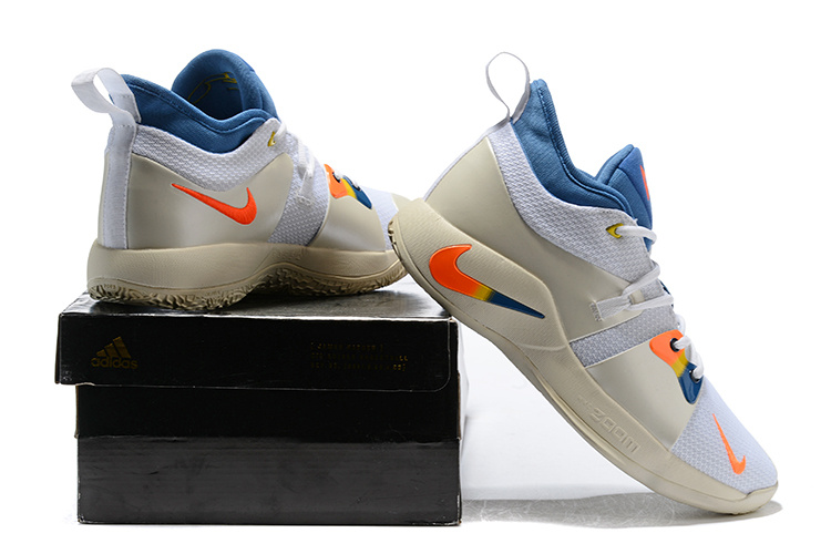 Nike Paul George PG 2 White Blue Orange Gradual Men s Basketball ... 7d1b3e403