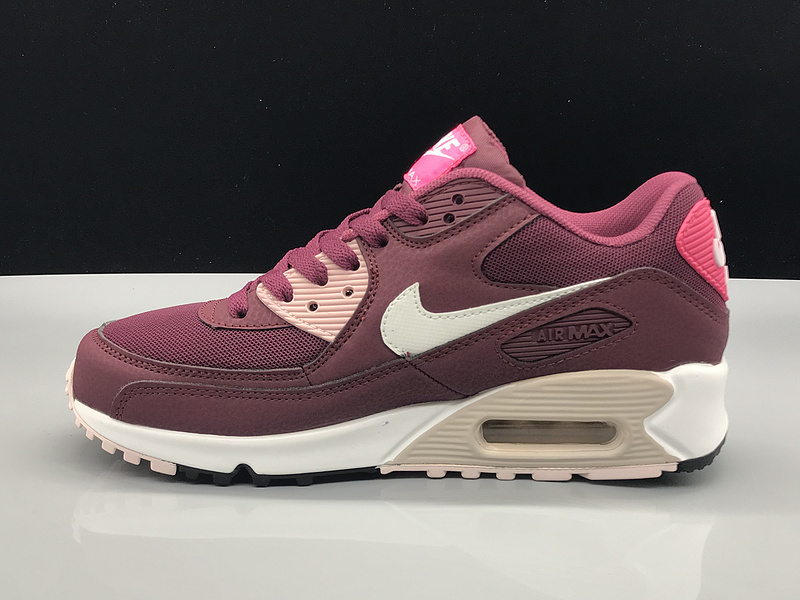 finest selection 80c09 9fbdf Nike Air Max 90 Burgundy White Women s Casual Shoes Sneakers