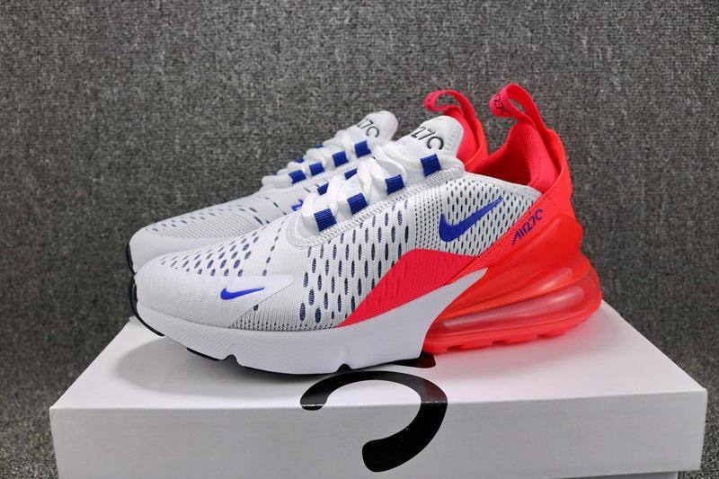 big sale 7d970 2d06d Nike Air Max 270 Flyknit White Ultramarine Solar Red AH6789 101 Women's  Casual Shoes AH6789--101