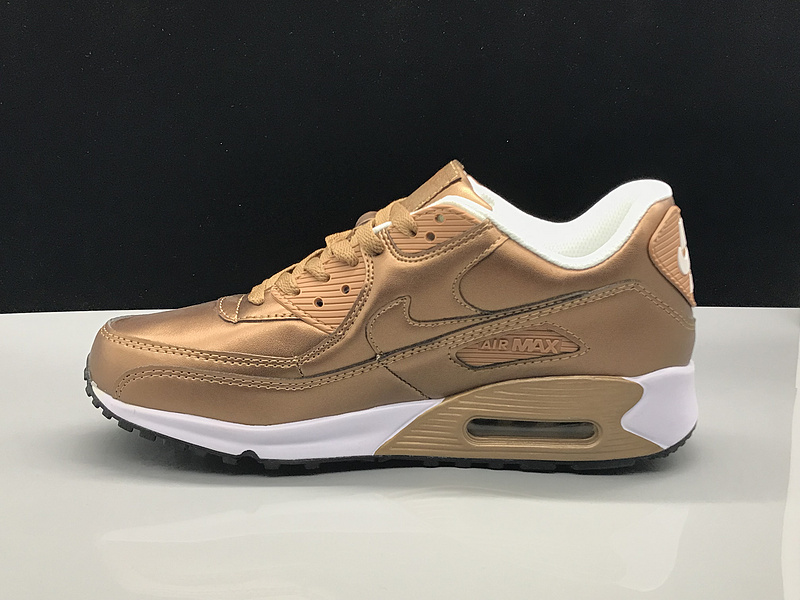 Nike Air Max 90 Leather Metal Gold White Women's Men's Casual Shoes Sneakers NIKE ST002740