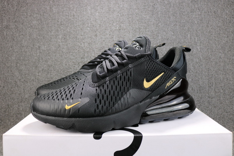 promo code 2c422 422bb Nike Air Max 270 Flyknit Black Metal Gold AH8050 007 Men's Casual ...
