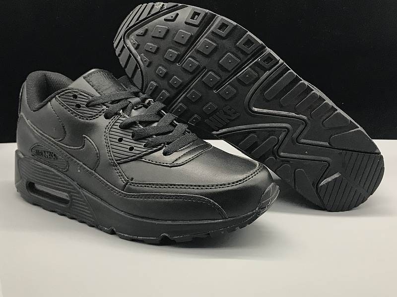 Nike Air Max 90 Leather Triple Black Women's Men's Casual Shoes Sneakers NIKE ST002751