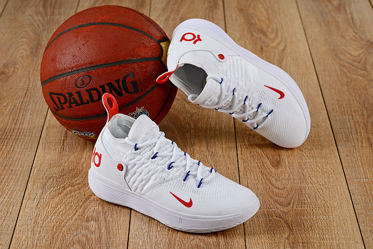 premium selection e83a2 6f83b Nike Zoom KD 11 EP White Red Men s Basketball Shoes