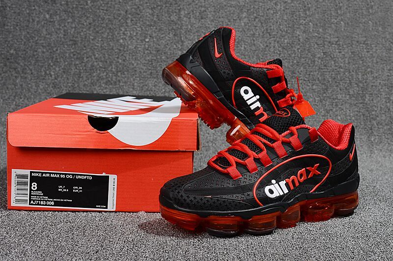 promo code 7d0ab 354bb Durable Nike Air VaporMax 95 OG Undftd Kpu BIG LOGO Black Red White AJ7183  006 Men's Running Shoes AJ7183-006