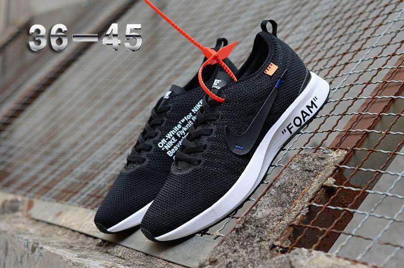 b236202f584 Off White Nike Air Zoom Mariah Flyknit Racer Black White Women s Men s  Running Shoes
