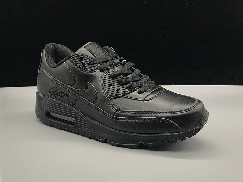 huge discount 63db7 20e7e Nike Air Max 90 Leather Triple Black Women's Men's Casual Shoes Sneakers  NIKE-ST002751