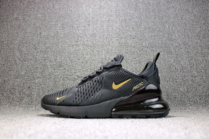 f3443c0aef1b6 Nike Air Max 270 Flyknit Black Metal Gold AH8050 007 Men's Casual Shoes  AH8050-007
