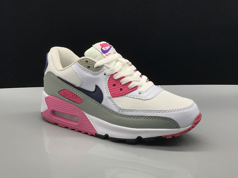 Nike Air Max 90 White Blue Pink Grey Women's Casual Shoes Sneakers NIKE ST002767