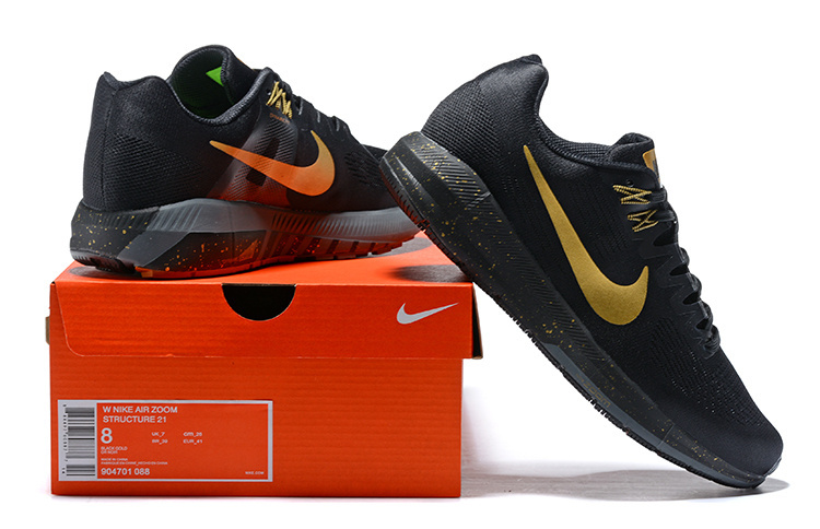 0095c617a9cac Nike Air Zoom Structure 21 Black Metal Gold 904701 088 Men's Casual Shoes  Sneakers 904701-088