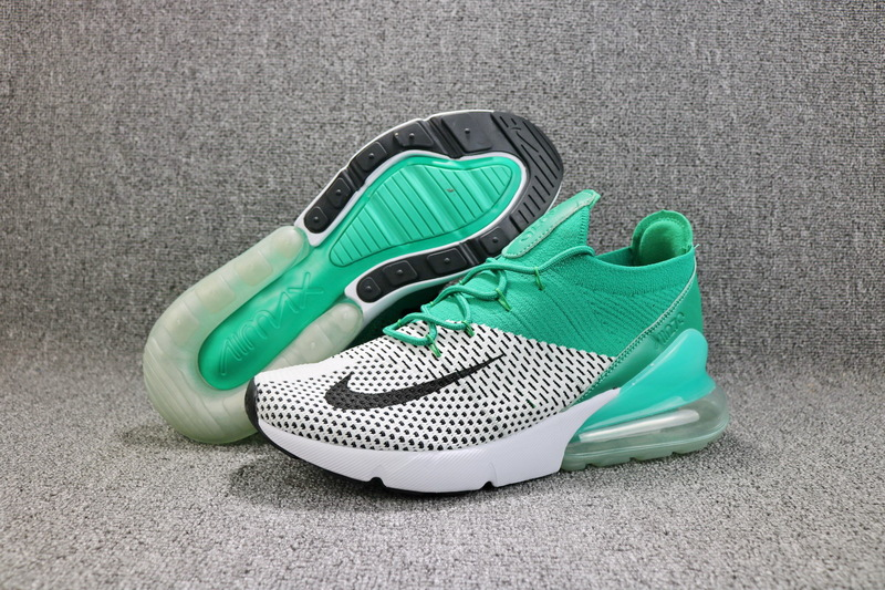 67d6dfd02c6 Nike Air Max 270 Flyknit Clear Emerald Pure Platinum White Black AH6803 300  Women s Men s Casual
