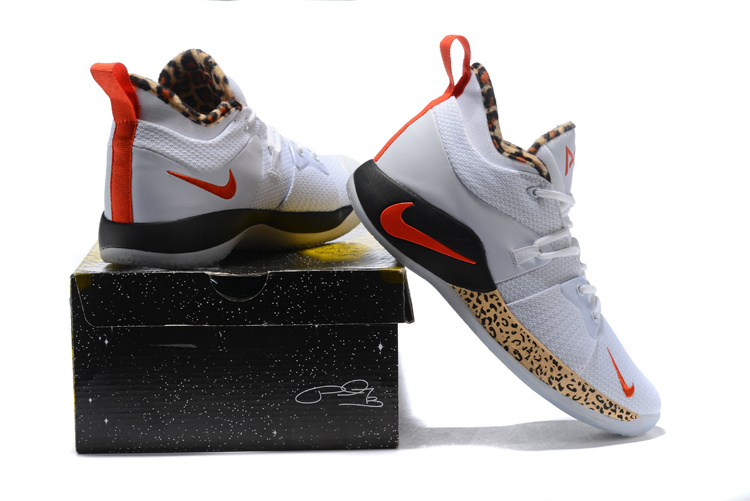 86567efbe360 Nike Paul George PG 2 Leopard Print White Red Black Men s Basketball Shoes