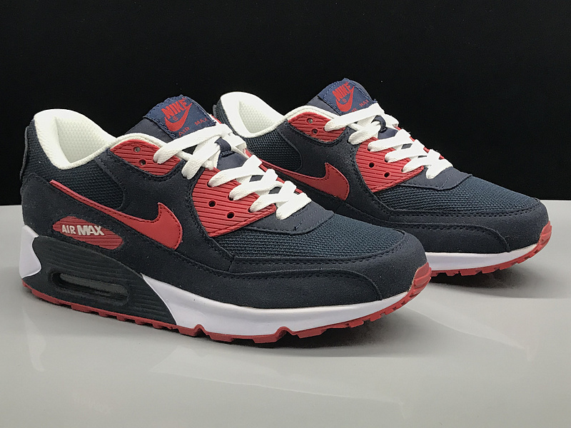 the latest ada3e 6d8d9 Nike Air Max 90 Navy Blue Red White Women's Men's Casual Shoes Sneakers  NIKE-ST002748