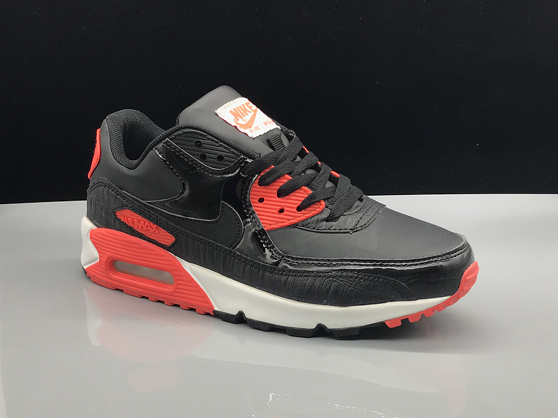 reputable site 078e1 75c54 Nike Air Max 90 Leather Black University Red Women's Men's Casual Shoes  Sneakers NIKE-ST002786