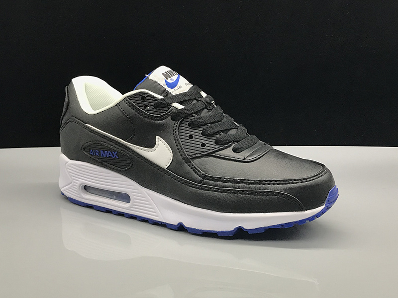 sports shoes 2c44b 0f9d8 Interesting Nike Air Max 90 Leather Black White Blue Women s Men s ...