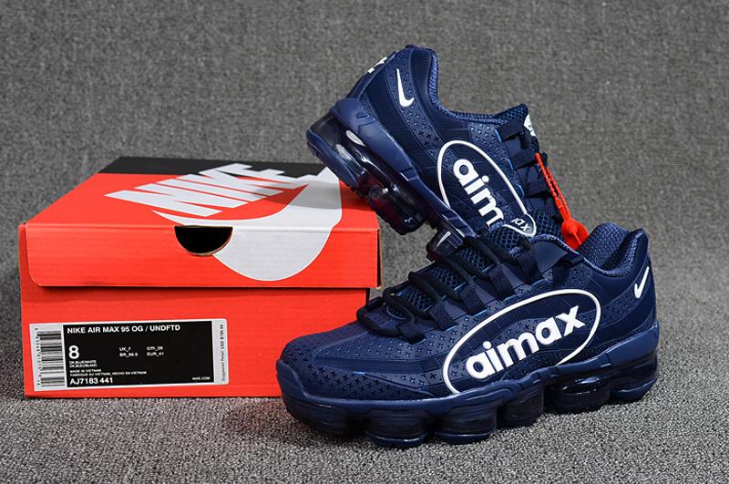 save off e0567 c1889 Nike Air VaporMax 95 OG Undftd Kpu BIG LOGO Navy Blue White AJ7183 441  Men's Running Shoes AJ7183-441