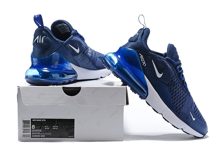 online retailer a06d6 e8c9f Nike Air Max 270 Flyknit Midnight Navy Black White AH8050 400 Men's Casual  Shoes AH8050-400A