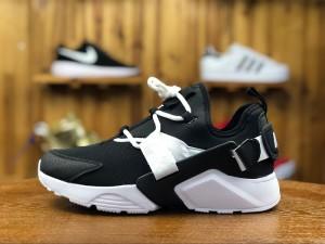 Men's and Women's Nike Air Huarache City Low Casual Shoes BlackWhite AH6804 002