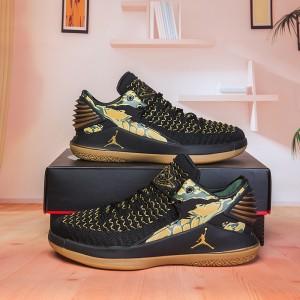 c1b40976afed Air Jordan 32 XXXII Low Camo Black White Metallic Gold AA1256 021 Men s  Basketball Shoes